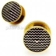 Gold PVD Platted Cut out Waves Jeweled Screw Fit Flesh Tunnel