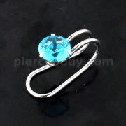 Round Jeweled Pressing Type Non Piercing Cartilage Clip on Ear ring