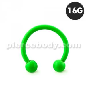 Neon Green 316L Surgical Steel Circular Barbell with Ball