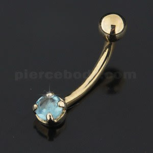 4mm Single Jeweled 14K Gold Belly Banana Bar Ring
