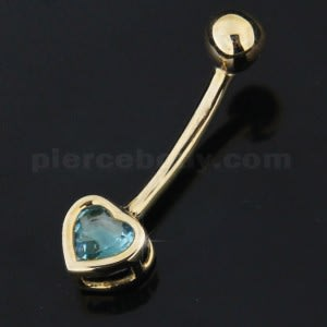 4mm Heart Aqua Jeweled 14K Gold Belly Ring
