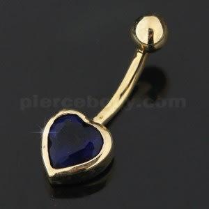 6mm Heart Jeweled 14K Gold Navel Banana Ring