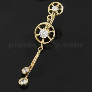 Double Circle Jeweled Dangling 14K Gold Banana Bar Navel Ring