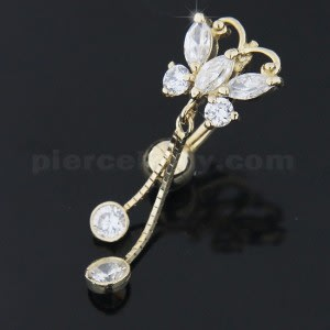 Small Jeweled Dangling Butterfly14K Gold Navel Ring