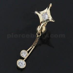 14K Hollow Gold Jeweled Dangling Banana Bar  Belly Ring