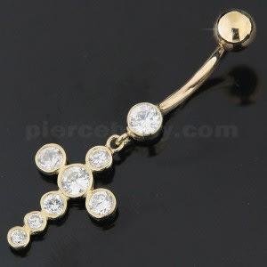 Zirconia Jeweled Dangling Cross 14K Gold Navel Ring