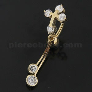 Jeweled Cross Dangling 14K Gold  Reverse Belly Ring