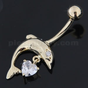 14K Solid Yellow Gold Banana Dangling Pear Jeweled Belly Bar