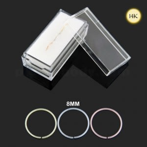 Box of 14K Gold 8 mm Seamless Continuous Nose Hoop Ring