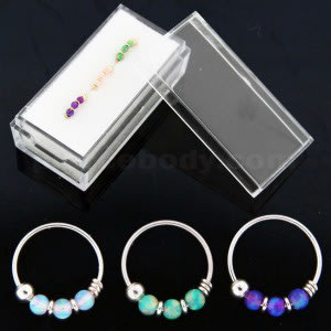 9K Yellow Gold Opal Stones Hoop Nose Ring 3 pieces in Box