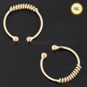 9K Yellow Gold Circular Spring Septum Ring