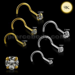 9K Solid Gold Round Jeweled Nose Screw