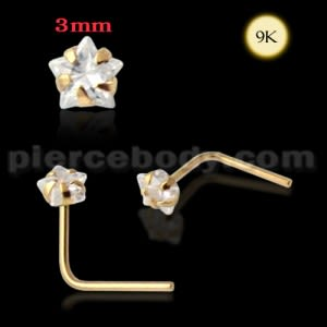 9K Gold L-Shaped Star CZ Nose Stud