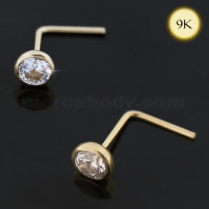 9K Yellow Gold CZ in Bezel Setting L-Shape Nose Stud