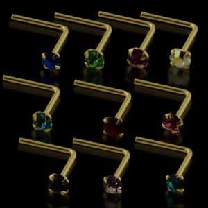 10 Mix Colors of 14K Gold L-Shape Nose Pins in Mini Box