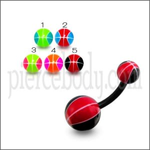 UV Belly Curved Bar With Black And Red Color UV Balls