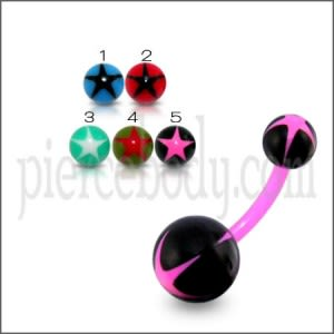 UV Navel Banana Bar Ring With Star UV Balls