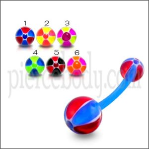 UV Banana Bar Belly Ring With Red And Blue Lines UV balls