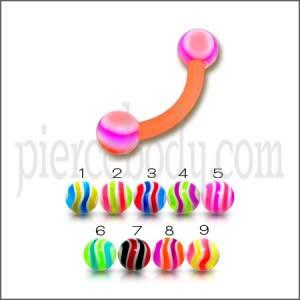 Multi Color UV Eyebrow Banana Ring with Mix Color UV Balls