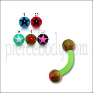 Green UV Body Jewelry Banana Bar Ring with Multi Color UV Balls