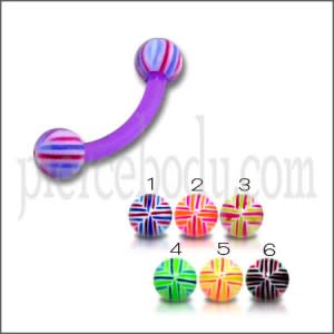 UV Purple Lip Eyebrow Ear Banana Bar with Beach Multi Color UV Balls