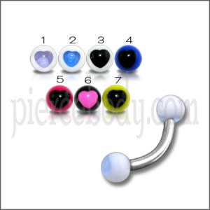 SS Eyebrow Banana Bar Ring with White UV Blue Star Print Balls Body Jewelry
