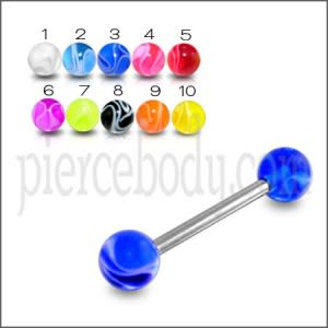 SS Tongue Barbell AWith Mix Royal Blue UV Balls Body Jewelry