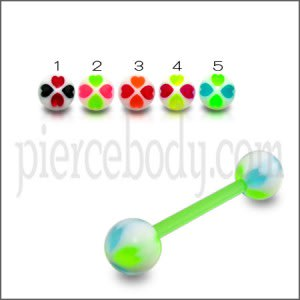 Aoneitem Green Check UV Ball Barbell Body Piercing Tongue Ring