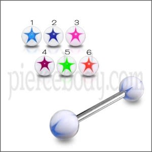 SS Tongue Barbell With White UV Blue Star Print Body Jewelry