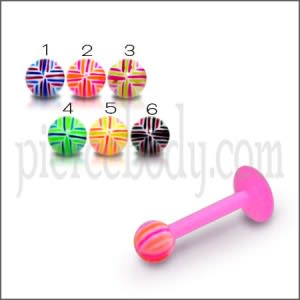 UV Assorted Color Flexible Straight Barbell with UV Fancy Ball Tongue Piercing Rings