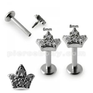 Micro Setting Jeweled Crown Madonna Labret