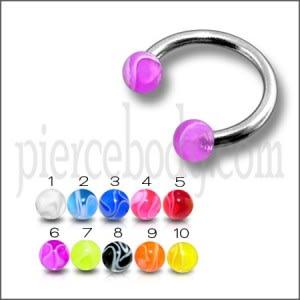 SS Circular Barbells with 3mm Mix Color Spiral Print UV Balls