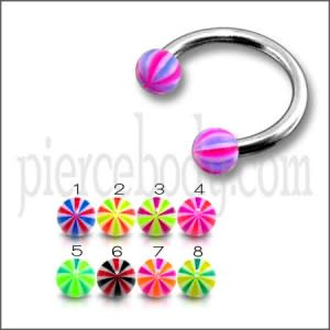 CBB Ring With 3mm UV Balls Body Jewelry