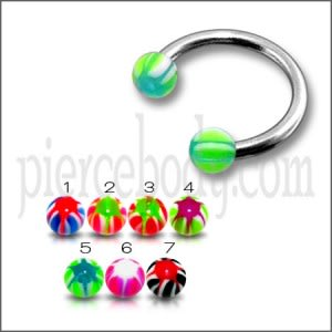 SS Circular Barbells with Multicolor Star UV Balls