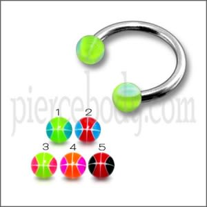 SS Circular Barbells Horseshoe Ring with Green UV Balls