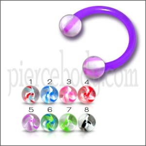 UV Acrylic Circular Barbell with UV Balls