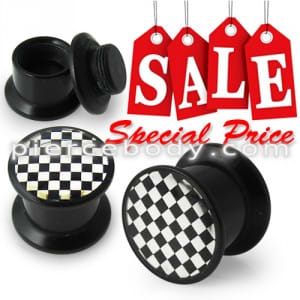 Checkers Logo With Screw Fit Ear Flesh Tunnel