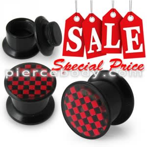 Classic Red Checkers Logo With Screw Fit Ear Flesh Tunnel
