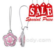 Pink Multi Crystal Stone Dangling Costume Earring