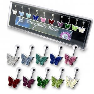Mix Colors Butterfly Silver Belly Ring