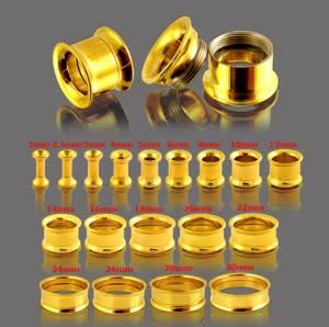 Gold Anodised Internally Threaded Ear Flesh Tunnel