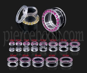 UV Transparant Multi Stone Ear Flesh Tunnel with Screw