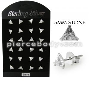 5MM CZ Triangle Ear Stud in 12 pair Tray