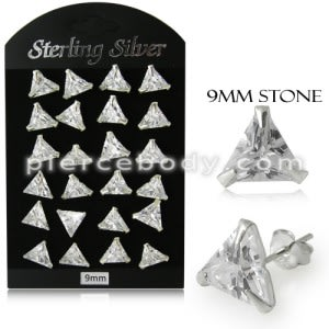 9MM CZ Triangle Ear Stud in 12 pair Tray