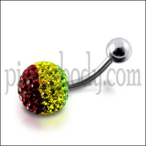 Three Multi Color Crystal stone Belly Body Jewelry Ring FDBLY315