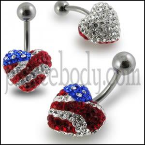 USA Flag Crystal stone Heart Navel banana Bar Ring