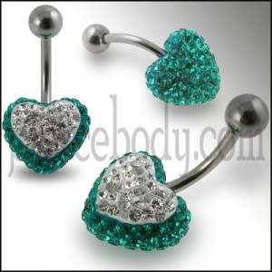 Multi Color Crystal stone Heart 316L SS Curved Navel Ring FDBLY326
