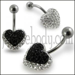 White And Black Crystal stone Heart SS Curved Navel Ring