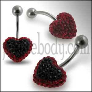 Red Crystal stone Heart SS Curved Barbell Navel Ring