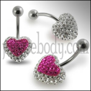 Pink Crystal stone Heart With White Crystal SS Curved Bar Navel Ring